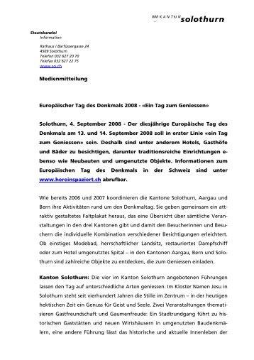 Europäischer Tag des Denkmals 2008 - Kanton Solothurn
