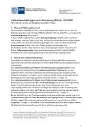 Lieferantenerklärungen nach Verordnung (EG) Nr. 1207/2001