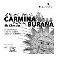 Programmheft zur Carmina Burana - Peine Marketing GmbH