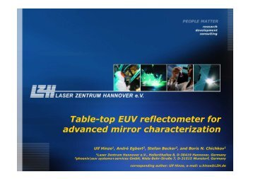 Table-top EUV reflectometer for advanced mirror ... - Sematech