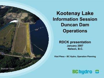 Duncan Dam Operations