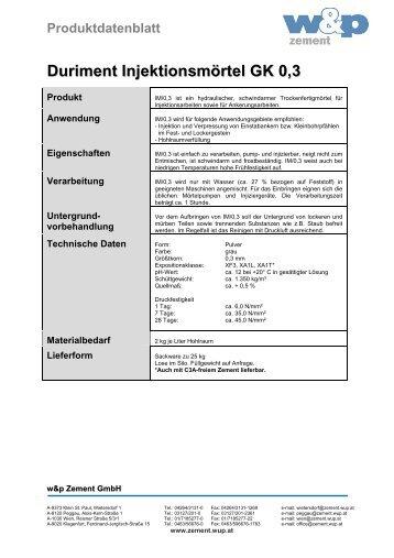 DURIMENT Injektonsmörtel - Wietersdorfer & Peggauer ...