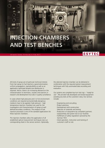 injection chambers and test benches - ESYTEC Energie und ...