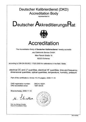 DIN EN ISO / IEC 17025 Kalibrierung - esz AG calibration & metrology