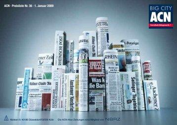 ACN . Preisliste Nr. 36 . 1. Januar 2009 - Die-Zeitungen.de