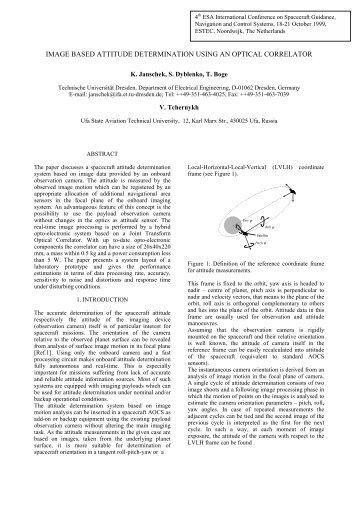 image based attitude determination using an optical correlator