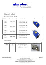 Electronic ballasts - eta plus electronic GmbH