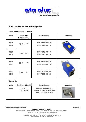 Elektronische Vorschaltgeräte - eta plus electronic GmbH
