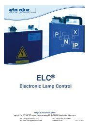 Product brochure Electronic Lamp Control - eta plus electronic GmbH
