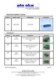 Electronic ballast X series - eta plus electronic GmbH