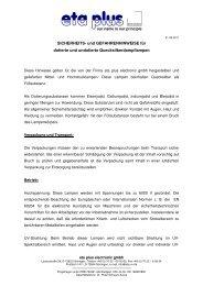 Sicherheitsdatenblatt Hg-Lampe - eta plus electronic GmbH