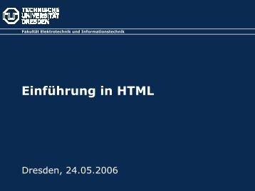 Einführung in HTML - Fakultät Elektrotechnik und Informationstechnik