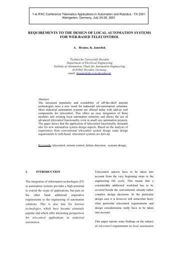 Anforderungen an ein lokales Automatisierungssystem - Technische ...