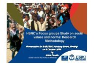 HSRC's Focus groups Study on social values and norms: Research ...