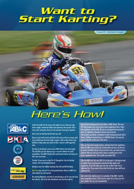 Start Karting Brochure Association Of Racing Kart Schools