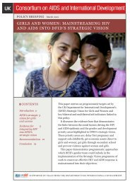 Girls and Women: Mainstreaming HIV and AIDS into