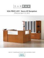 GSA Sierra XP Reception Price List - DARRAN Furniture Industries