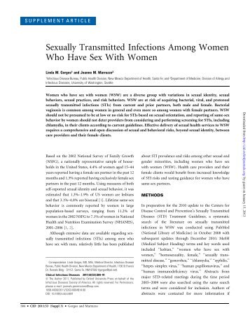 Sexually Transmitted Infections Among Women Who Have Sex With ...