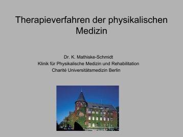 Therapieverfahren der physikalischen Medizin