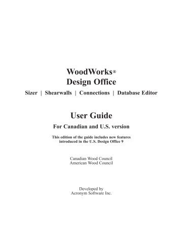 Software User Guide - Canadian Wood Council