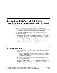 Converting CBS/Payroll (DOS) - Tax & Accounting