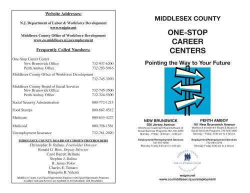 One Stop Career Centers Middlesex County