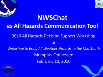 NWSChat as All Hazards Communication Tool - NOAA