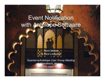 Event Notification with Antelope Software