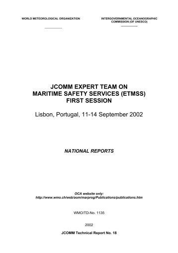 JCOMM EXPERT TEAM ON MARITIME SAFETY SERVICES (ETMSS)