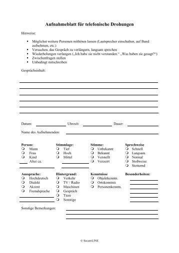 Aufnahmeblatt für telefonische Drohungen - SecureLINE