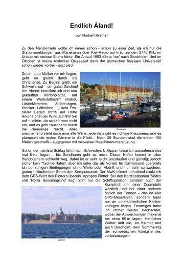 Jan Bart auf den Alands - Rostock-Sport.de