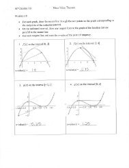 Mean Value Theorem Notes - Mrs. Sapp - Home