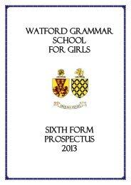sixth form prospectus - 2003/2004 - Watford Grammar School for Girls