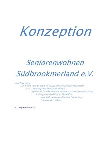 Konzeption - Seniorenwohnen Südbrookmerland eV