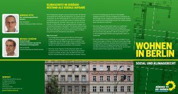 WOHNEN IN BERLIN - Bündnis 90/Die Grünen im Abgeordnetenhaus
