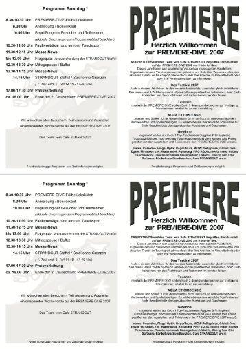 Programm PREMIERE-DIVE 2007 - Tauchbasis am Hitdorfer See
