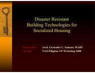 Disaster Resistant Building Technologies for Socialized Housing