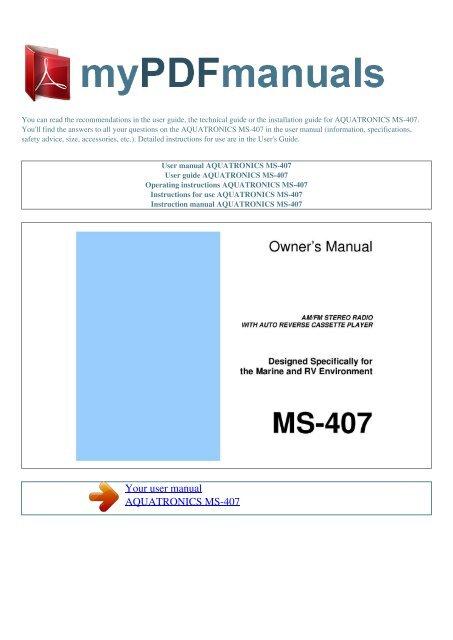 User manual AQUATRONICS MS-407 - MY PDF MANUALS