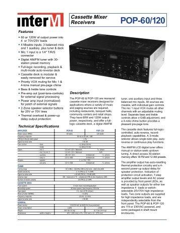 Cassette Mixer Receivers POP-60/120