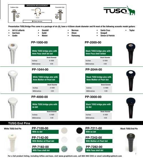 GRAPH TECH TUSQ® ACOUSTIC GUITAR BRIDGE PINS BLACK W//PEARL DOT *NEW* PP-2142-00