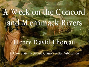 A Week on the Concord and Merrimack Rivers - Pennsylvania State ...