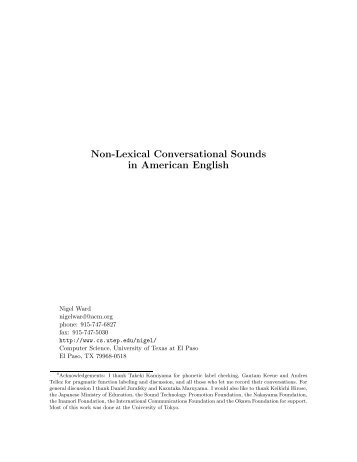 Non-Lexical Conversational Sounds in American English - CiteSeerX