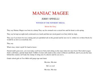 MANIAC MAGEE QUESTIONS Preview the questions before ...