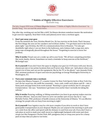 7 Habits of Highly Effective Exercisers