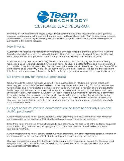 customer lead program - Beachbody Coach at Pledge To Stay