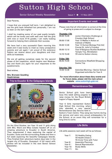 11th November 2011 - Weekly Newsletter Issue 7 - Sutton High School