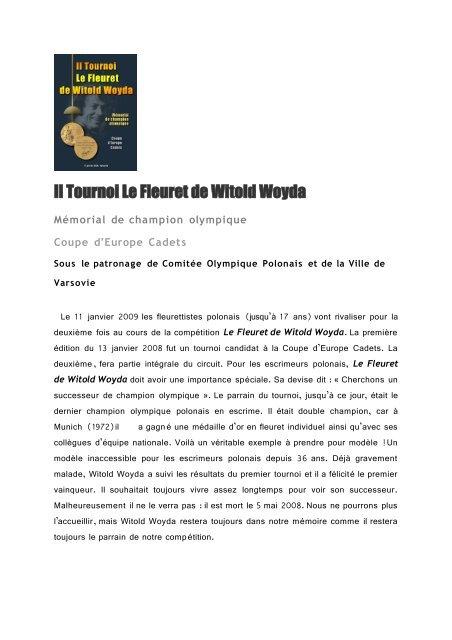 Il Fioretto di Witold Woyda Il Memoriale del campione olimpi - Nahouw