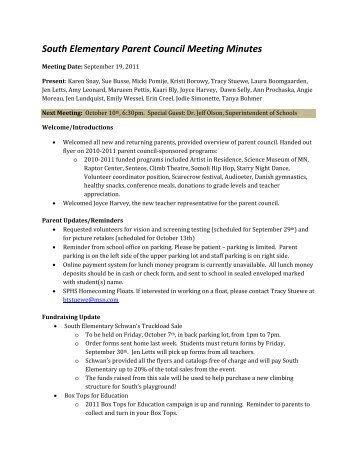 South Elementary Parent Council Meeting Minutes