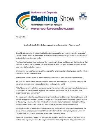February 2011 Leading British fashion designer appeals to ...