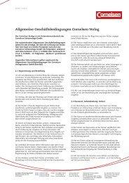 Allgemeine Geschäftsbedingungen Cornelsen Verlag